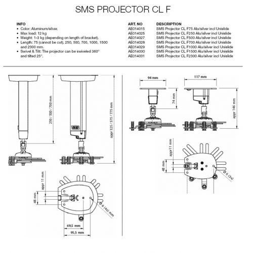 SMS Projector CL F250 A/S incl Unislide - 1