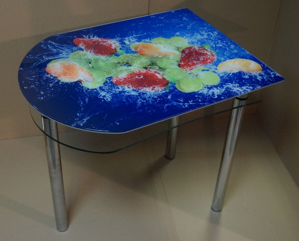 Milli ос-57 стеклянный стол для кухни с рисунком фруктовый м.