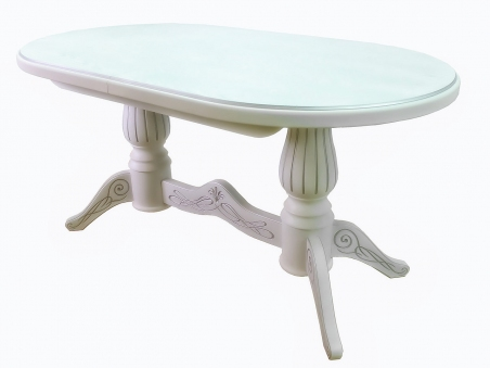 Мебелик Рифей 01 бел./патина раздвижной 160(200)х90
